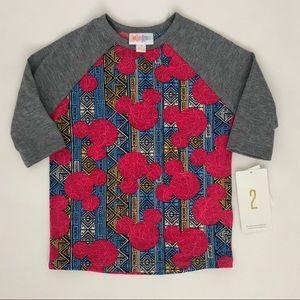NWT LuLaRoe Girls Disney Mickey Sloan Shirt Sz 2